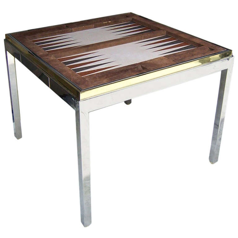 willy rizzo vintage signed backgammon game table saturday. Black Bedroom Furniture Sets. Home Design Ideas