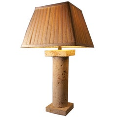Coquina Stone Column Table Lamp Attributed to Samuel Marx