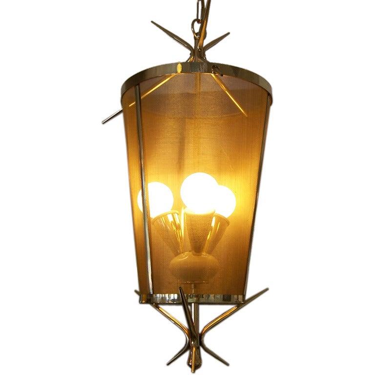 Italian Petite Brass Lantern Hanging Light For Sale