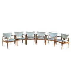 Set of Six Finn Juhl No. 48 Open Armchairs