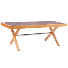 Eames Style Strap Woven Bench
