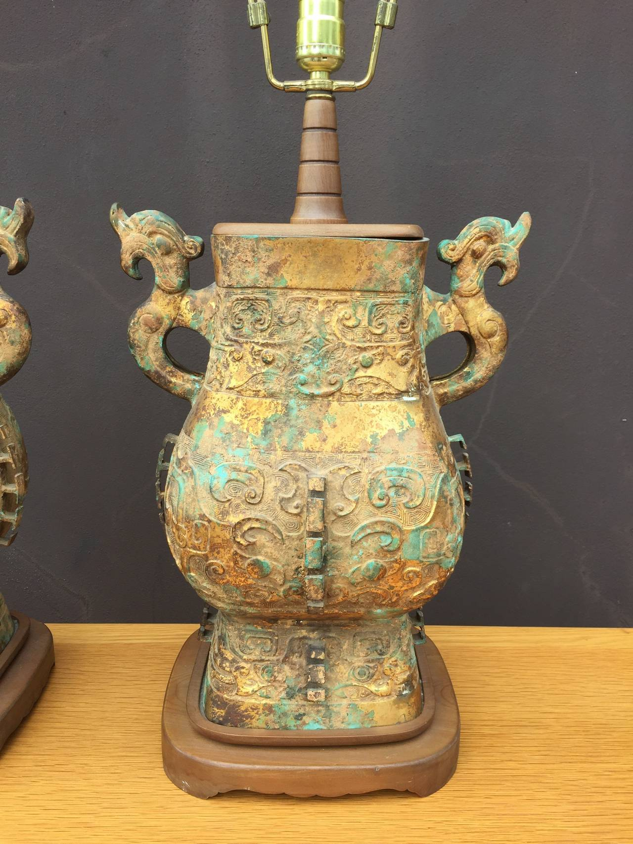 Anglo-Japanese Chinoiserie Pair of Iron Table Lamps For Sale