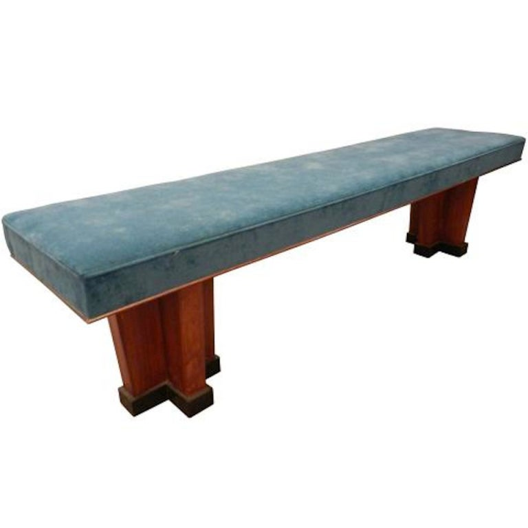 A Long Art Deco Bench In Mahogany And Upholstery At 1stdibs