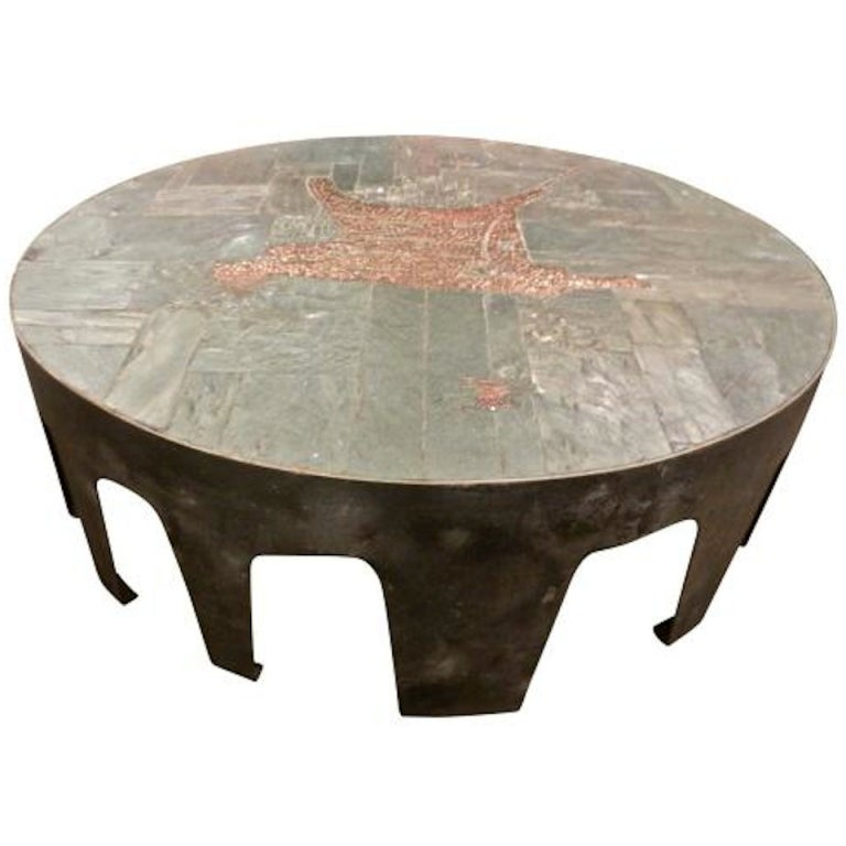 A Rare Cocktail Table In Blackened Steel Slate And Tile By Pia Manu At 1stdibs
