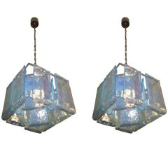 A Pair of Modernist Fixtures with Hand Molded Glass by Barovier