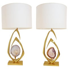 Pair of Table Lamps in Gilt Brass and Agate by Willy Daro