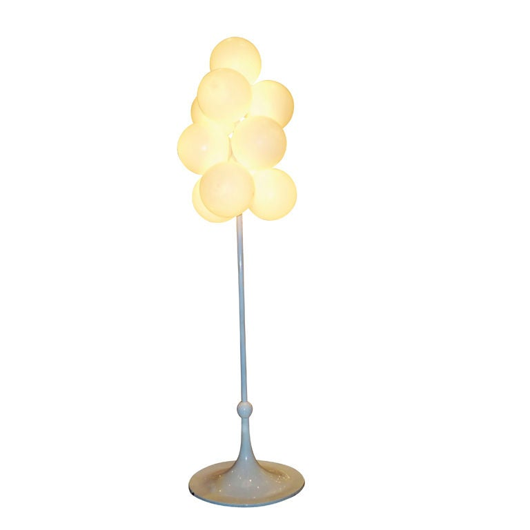 A multi light floor lamp in lacquer and glass at 1stdibs for Multi led floor lamp