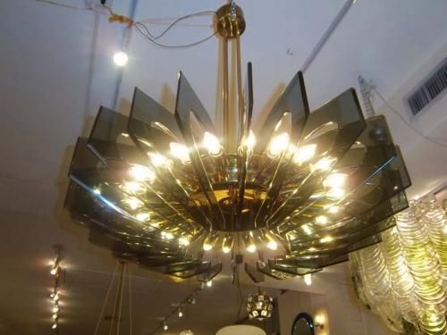 very large scale mid century 24 light chandelier by. Black Bedroom Furniture Sets. Home Design Ideas
