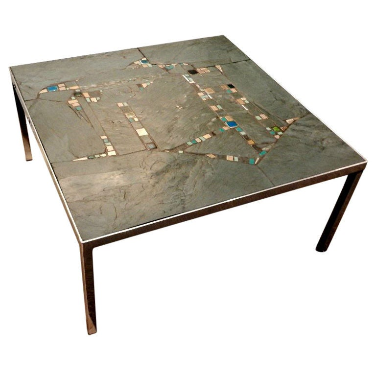 Modernist Cocktail Table In Chrome Slate And Tile By Pia Manu At 1stdibs