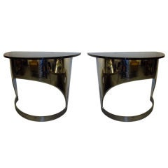 A Pair of Modernist Demi Lune Console Tables in Nickel and Glass