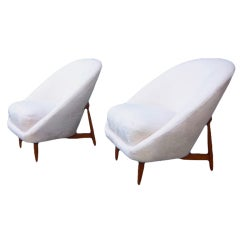 A Pair Mid Century Club Chairs by Theo Ruth for Artiforte