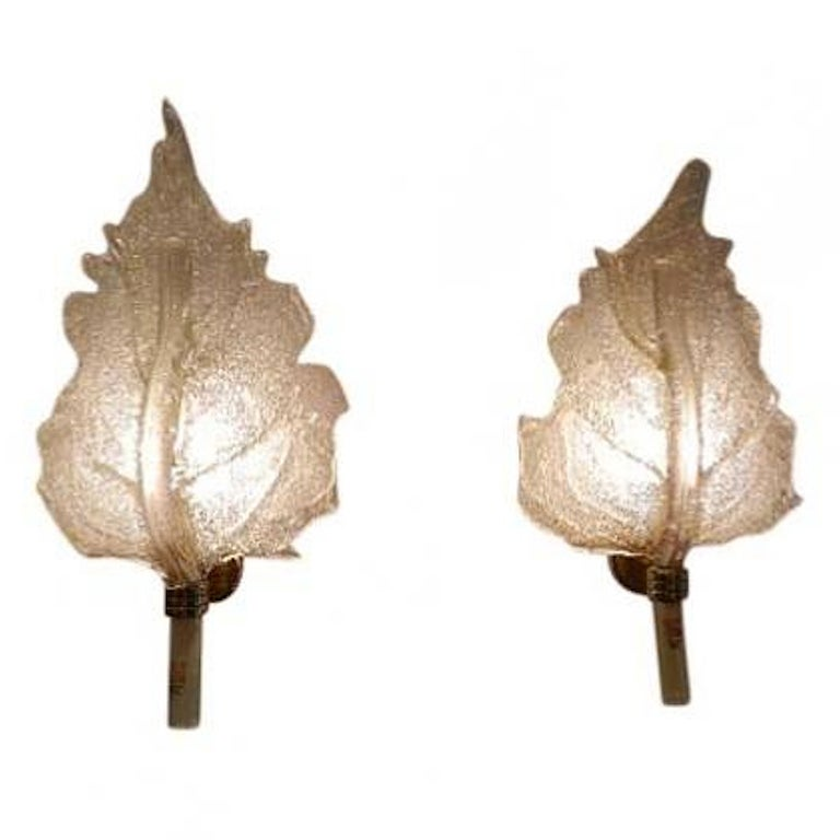 Pair of Leaf Shaped Wall Sconces by Barovier e Toso at 1stdibs