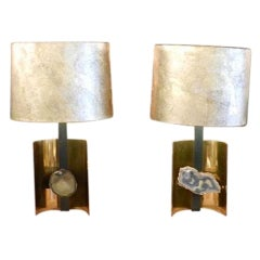 Pair of Table Lamps in Brass and Agate Attributed to Willy Daro