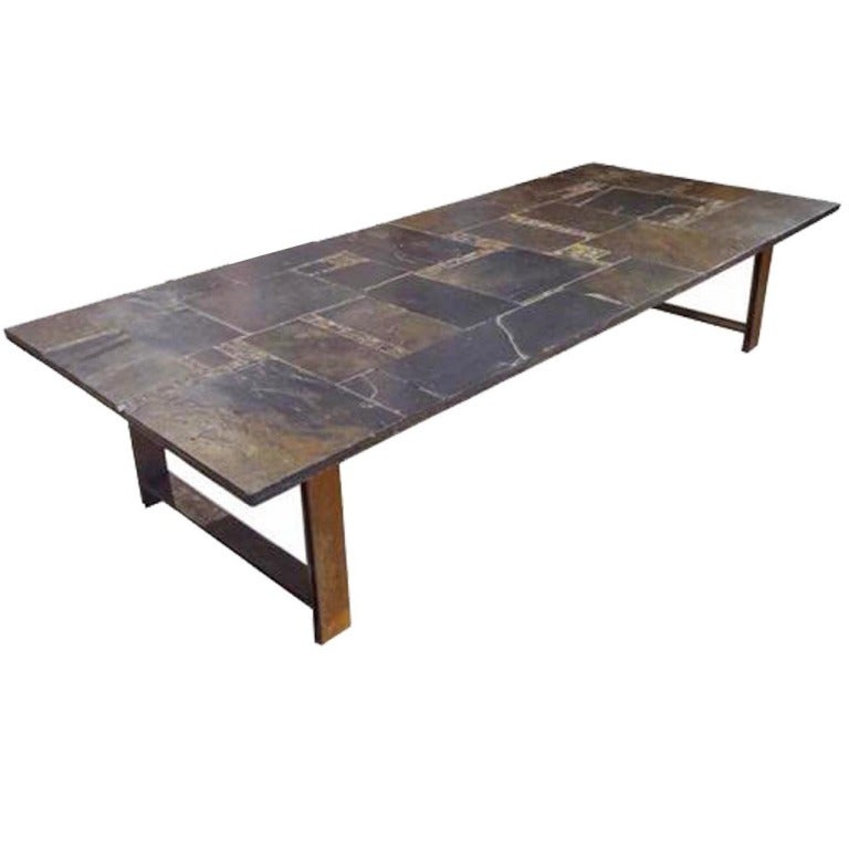 Cocktail Table In Brass Slate And Hand Thrown Tile Produced By