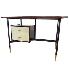 Mid-Century Modern Writing Desk in Mahogany and Steel, Italy, circa 1955