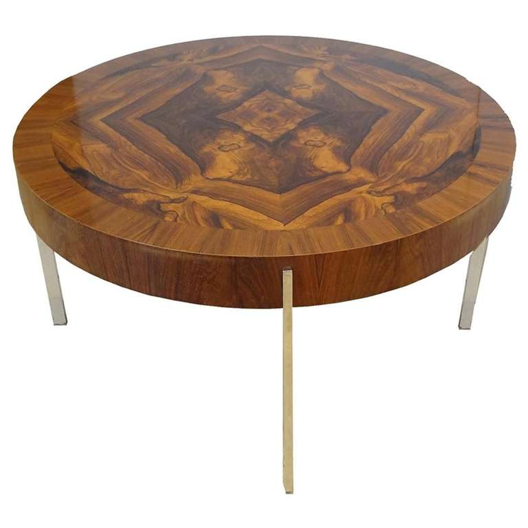 modernist round cocktail table in walnut and chrome for sale at 1stdibs. Black Bedroom Furniture Sets. Home Design Ideas