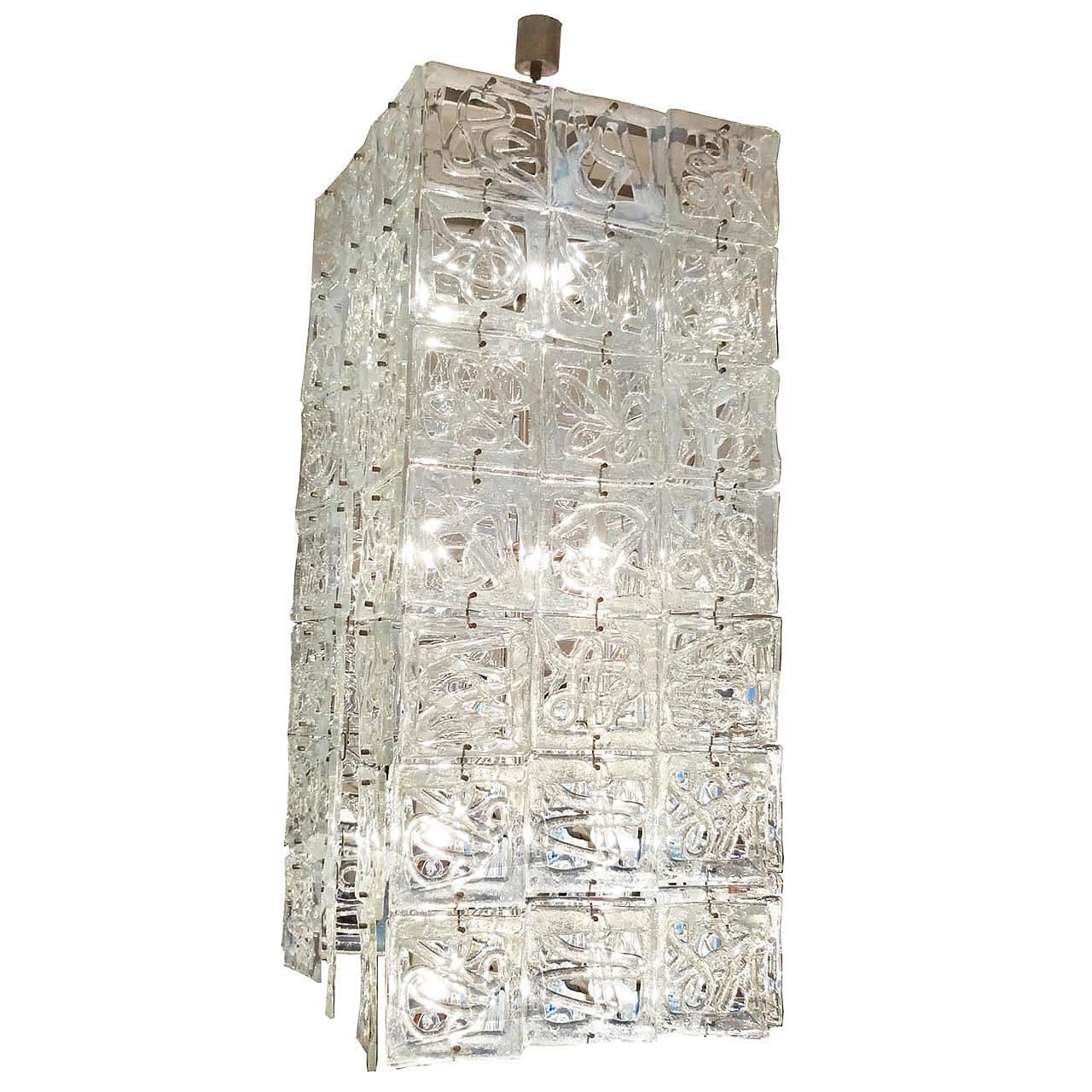 Carlo Nason Large-Scale Rectangular Glass Chandelier Italy circa 1960 1