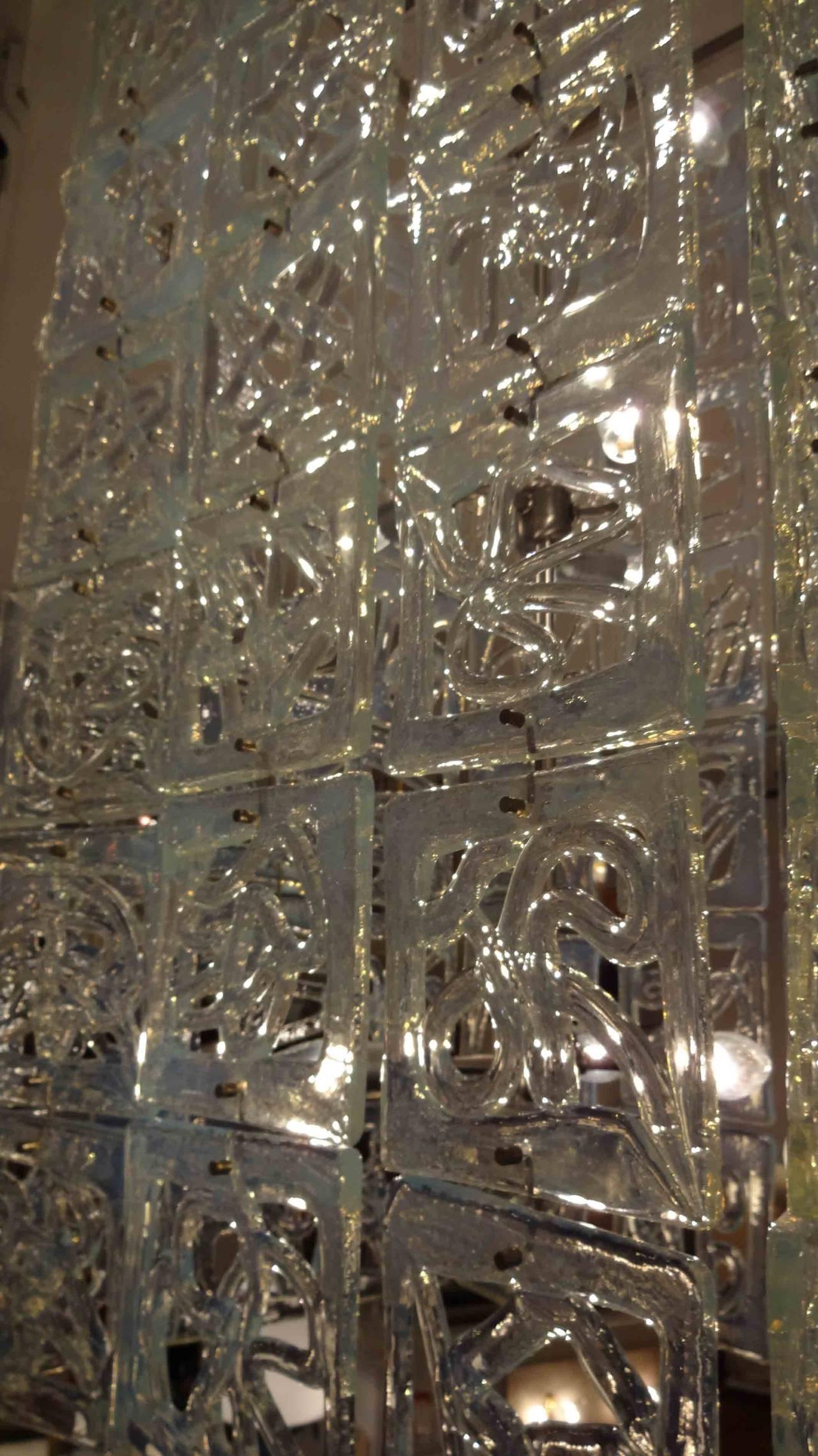 Carlo Nason Large-Scale Rectangular Glass Chandelier Italy circa 1960 2