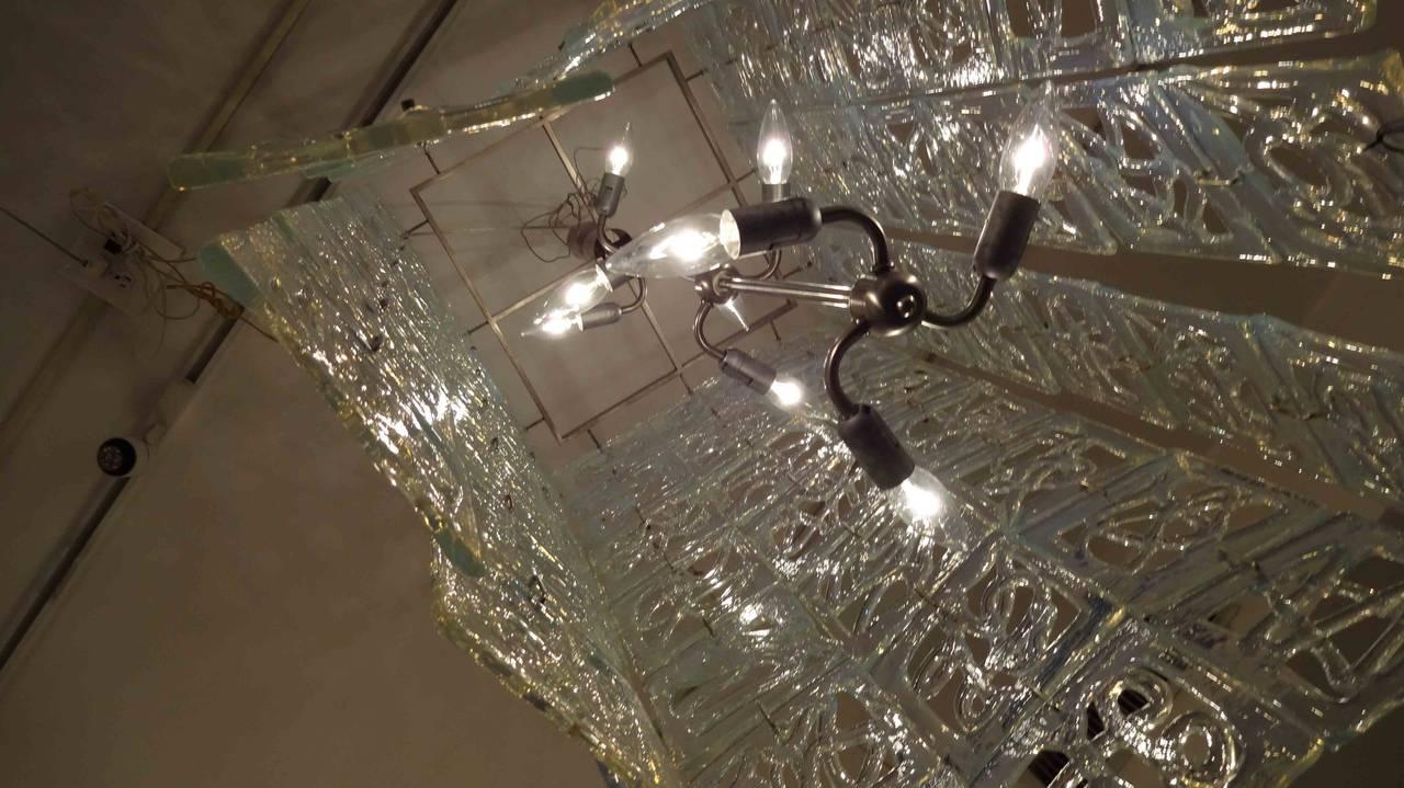 Carlo Nason Large-Scale Rectangular Glass Chandelier Italy circa 1960 3