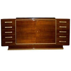 Andre Renou and Jean-Pierre Genisset Important Sideboard in Walnut and Bronze