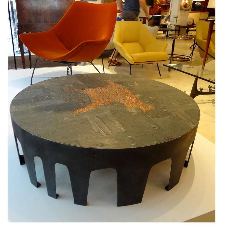 Metal Coffee Table With Slate Tiles: A Rare Cocktail Table In Blackened Steel, Slate And Tile