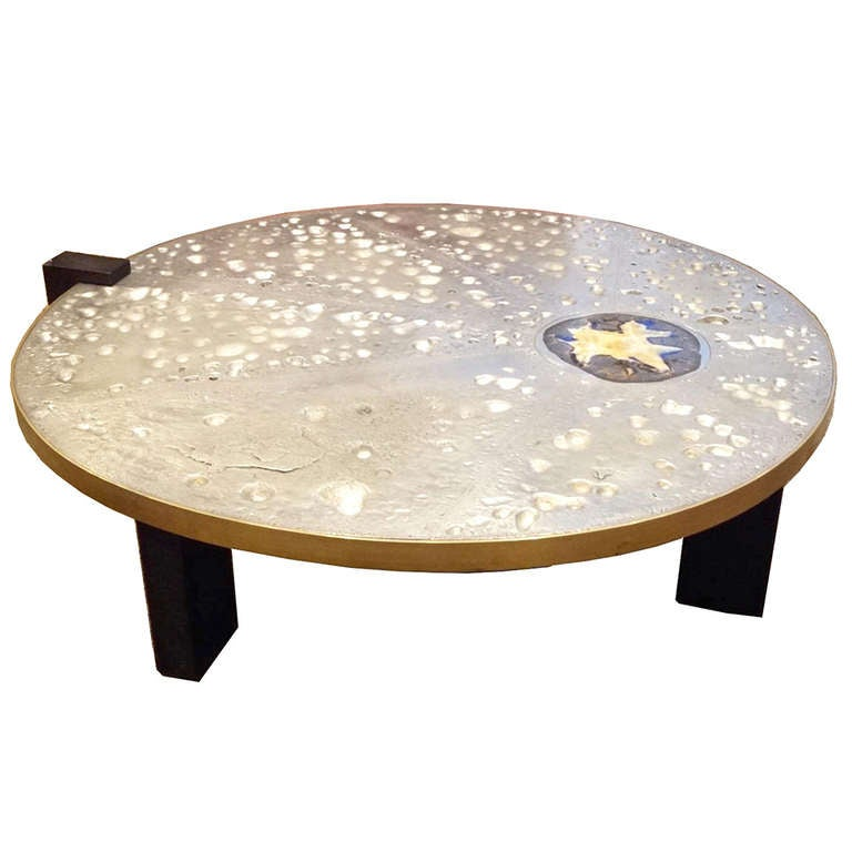 Agate Marble And Brass Round Cocktail Table At 1stdibs: Rare Cocktail Table In Sand Cast Steel, Bronze, And Agate