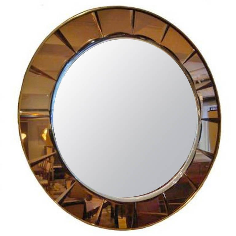large round midcentury wall mirror by crystal arte for