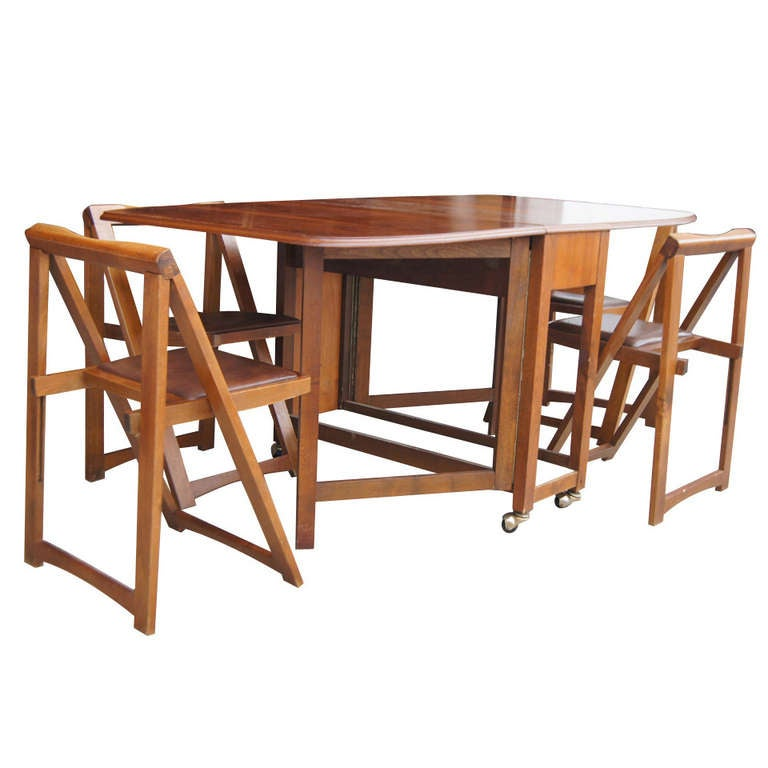 Vintage 68 wood folding dining table with four chairs set for Four chair dining table set