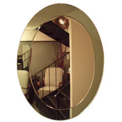Oval Wall Mirror in the Style of Fontana Arte