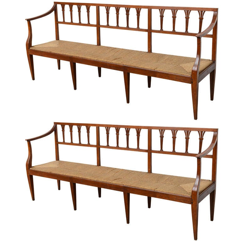 Pair Of Italian Rush Seat Benches At 1stdibs