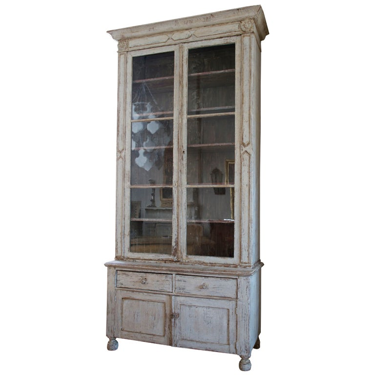 Tall painted cabinet with glazed doors at 1stdibs - Beautiful wooden cabinet with glass doors for your storage solution ...