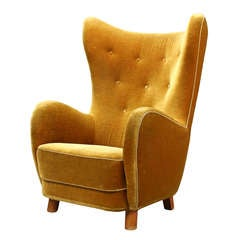 Danish Upholstered High Back Chair Attributed to Flemming Lassen