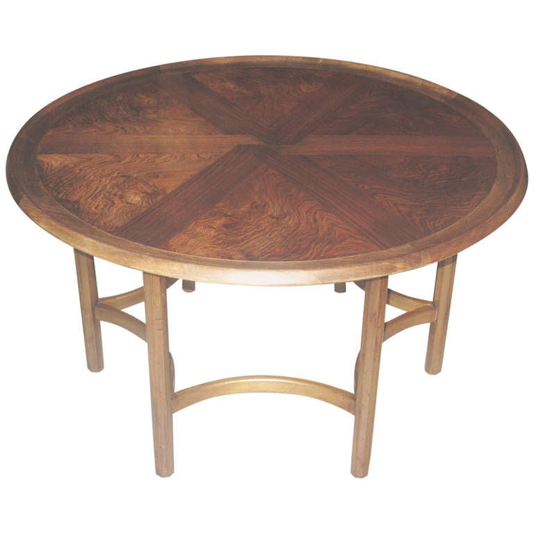 Danish Modern Circular Coffee Low Table With Beautifully Figured Walnut Top At 1stdibs