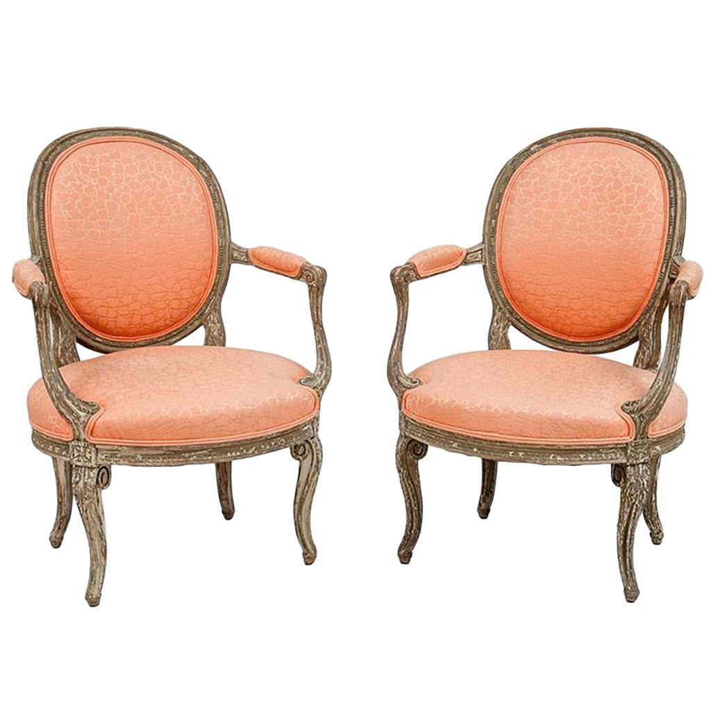 pair of louis xvi style painted fauteuils en cabriolet at. Black Bedroom Furniture Sets. Home Design Ideas