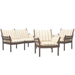 Danish Modern Loveseat and Armchair Set by Illum Wikkelso