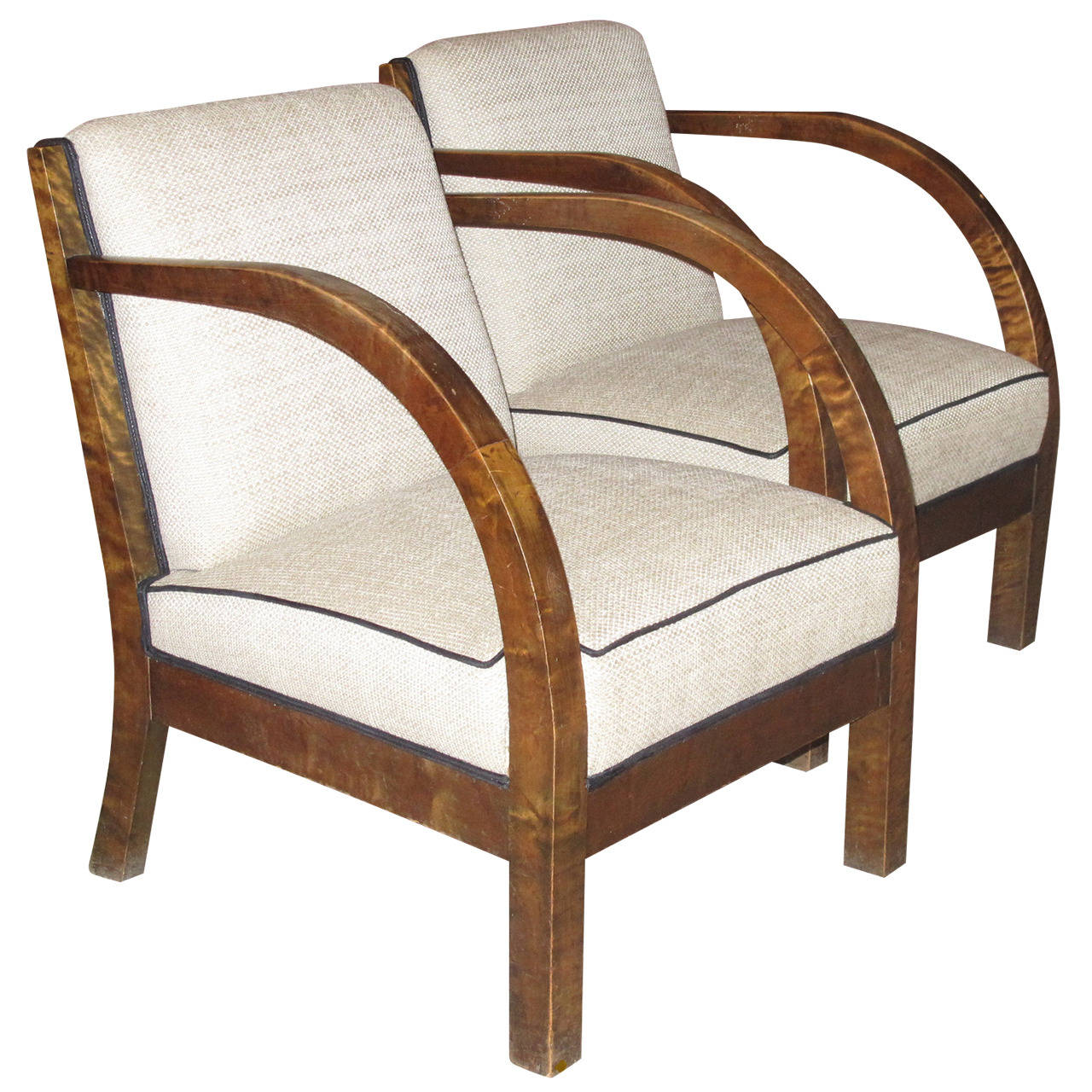 Lovely Pair Of Danish 1930s Birch Wood Armchairs With Curved Arms For Sale