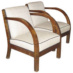 Pair of Danish 1930s Birch Wood Armchairs with Curved Arms