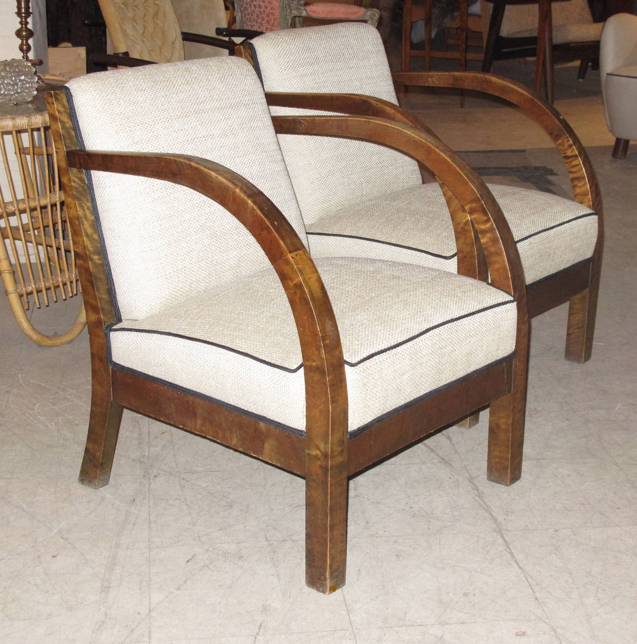 Pair Of Danish 1930s Birch Wood Armchairs With Curved Arms 2
