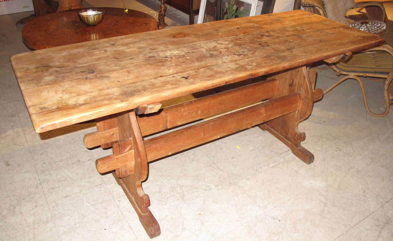 Rustic Pine Foyer Table : Swedish th century pine rustic hall or center table at
