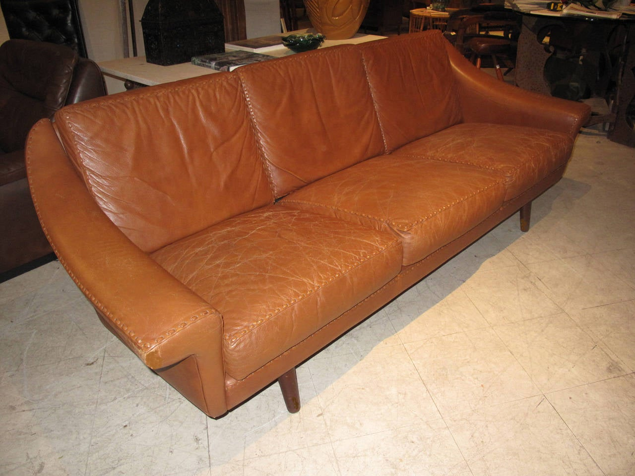 danish modern leather sofa with stitching detail at 1stdibs