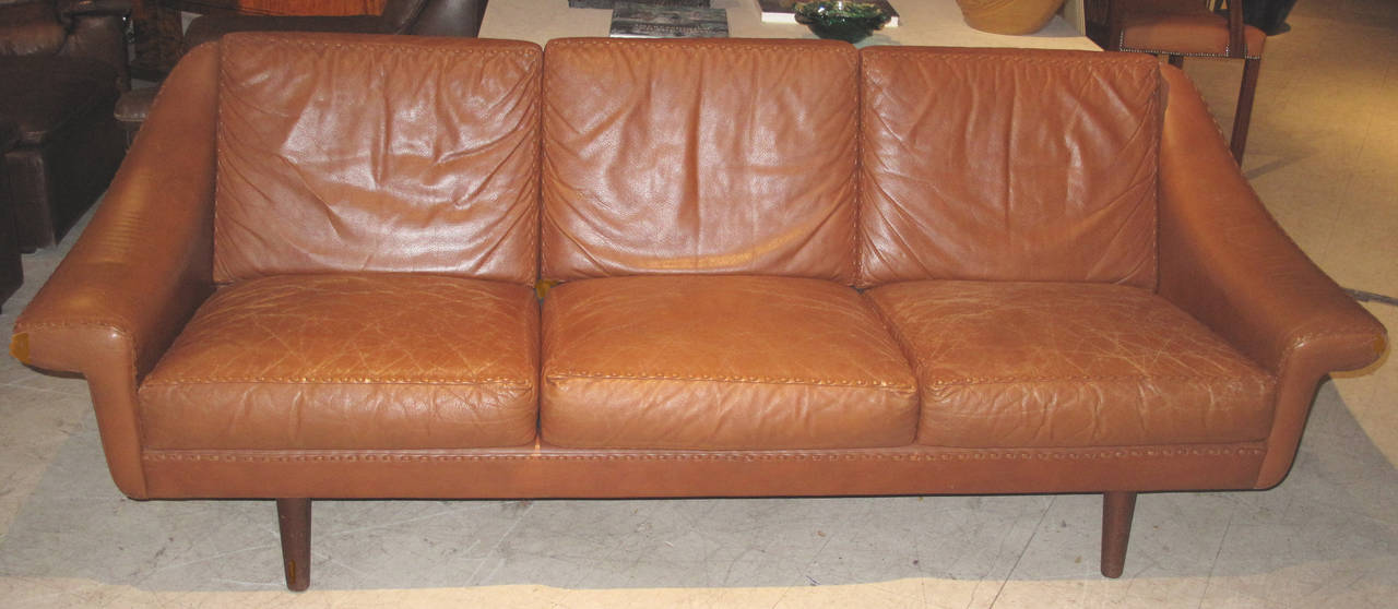 Danish Modern Leather Sofa With Sching Detail 2