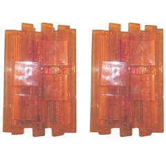 Pair of Danish Orange Acrylic Wall Sconces by Claus Bolby