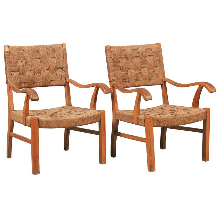 Pair of Danish Oak Frame Armchairs with Papercord Weaving