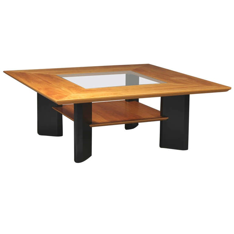 Danish modern cherry wood ebonized wood and glass coffee for Modern cherry coffee table
