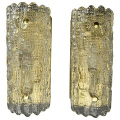 Pair of Orrefors Pressed Glass and Brass Wall Sconces