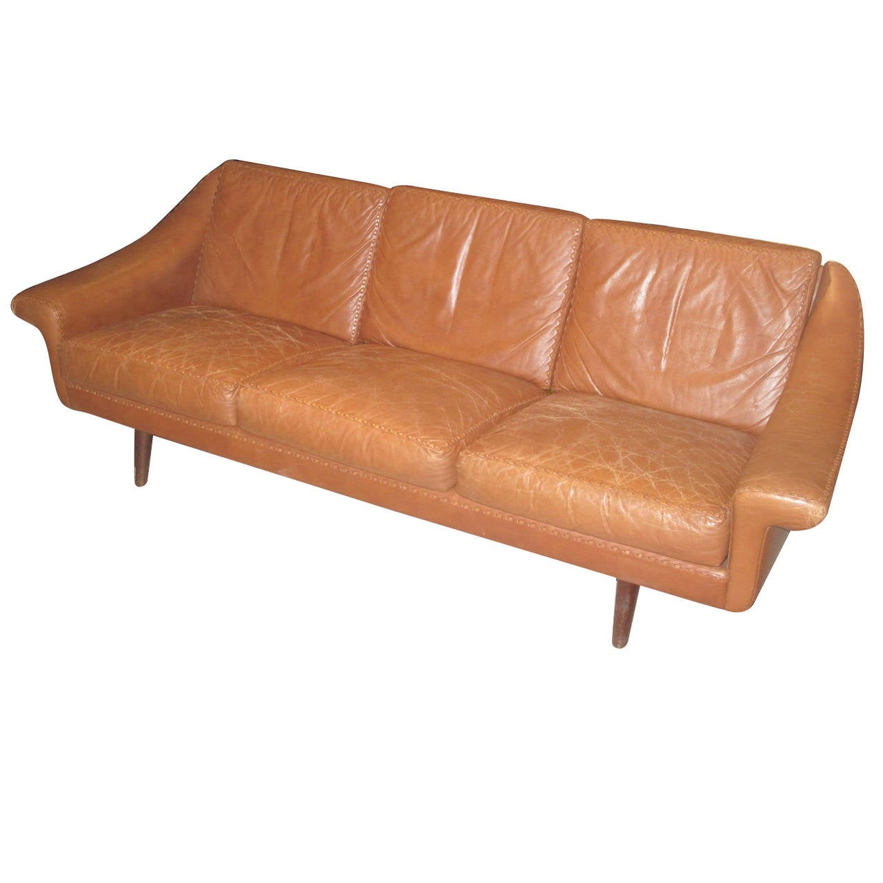 Danish Modern Sofas: Danish Modern Leather Sofa With Stitching Detail At 1stdibs