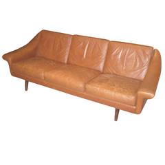 Danish Modern Leather Sofa with Stitching Detail