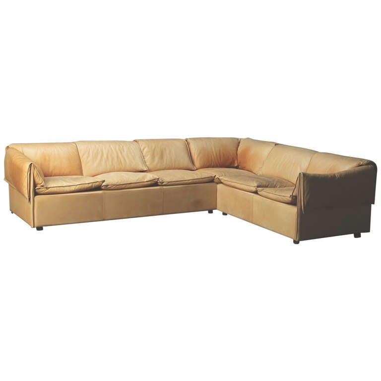 danish modern 1970s three part leather corner sofa at 1stdibs