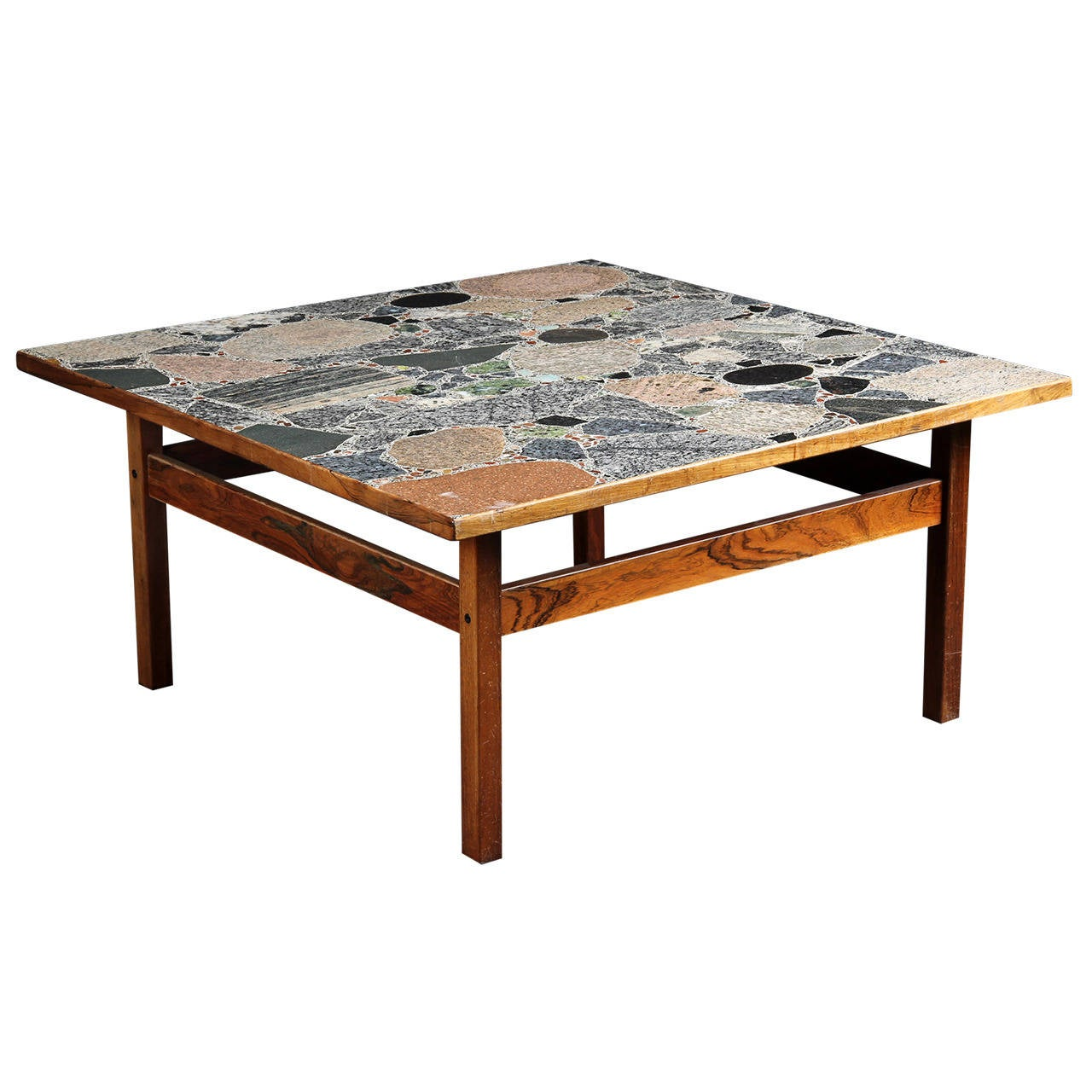 Danish large scale rosewood coffee or low table with for Large marble top coffee table