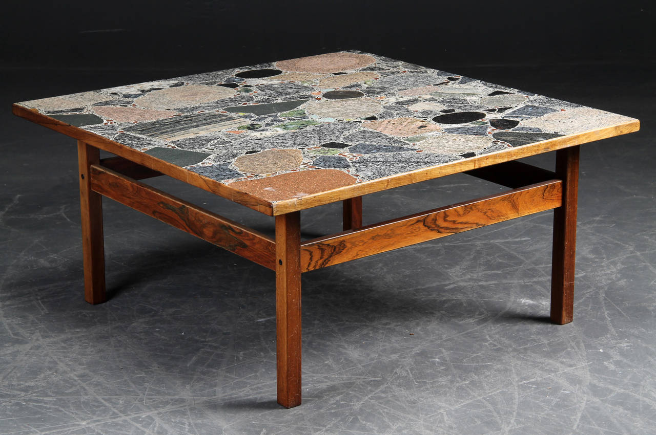 High Quality The Figured Rosewood Base Supporting A Fine Quality Rosewood Framed Terrazzo  Top With Large Marble Specimen